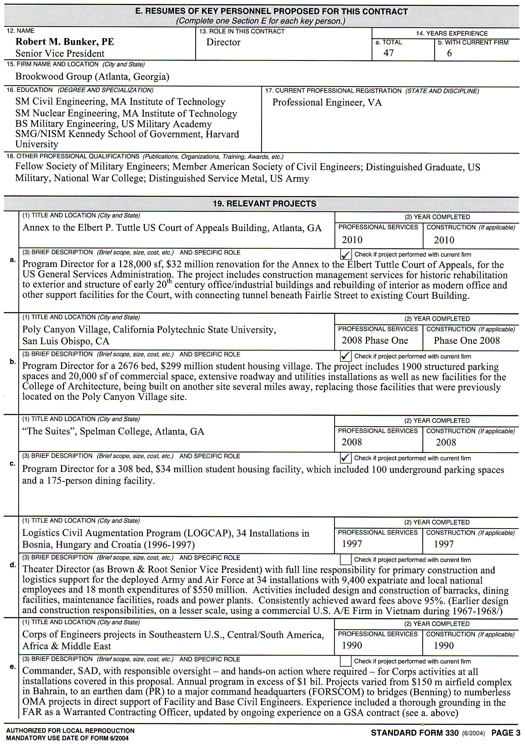 R M Bunker Associates - SF 330 Resume